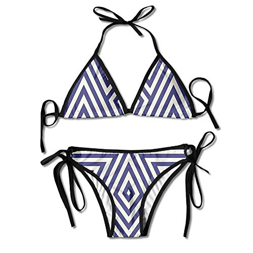 fce37b5320 WASAENGY 3D Flower Print Clever Abstract Line Custom Sexy Beach Swimwear  Women s Triangle Bralette Bikini Set