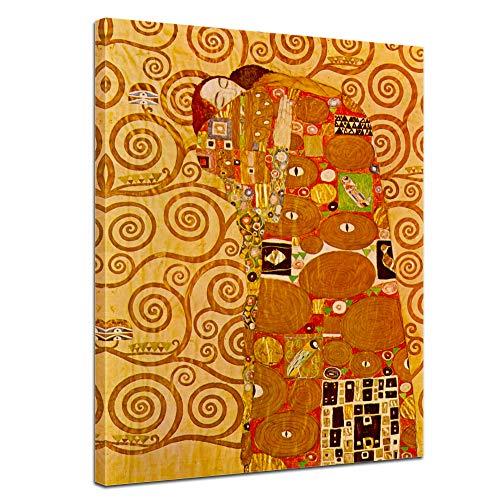Wandbild Gustav Klimt Die Erfüllung - 50x70cm hochkant - Alte Meister Berühmte Gemälde Leinwandbild Kunstdruck Bild auf Leinwand