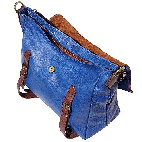 sac à èpaule avec rabat 6141 Bleu -marron
