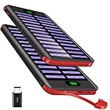 Powerbank 16000mAh, VNOOKY Externer Akku Battery Pack mit 3 Input und Integriertem 2.4A Micro Kabel Tragbares Solar Ladegerät Handy für das Android/IOS Phone, Tablette, andere Smartphones/Handys(Rot)