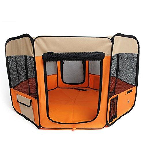 amzdeal Welpenlaufstall Hundebox faltbare Orange (37 x 37 x 92cm)