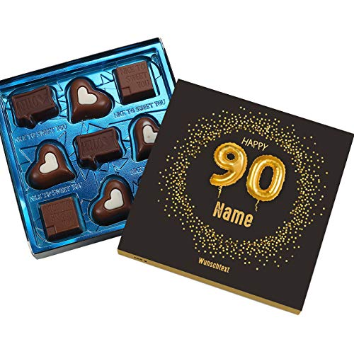 Herz & Heim® Lindt Pralinen zum 90. Geburtstag mit Namen und Glückwunschtext