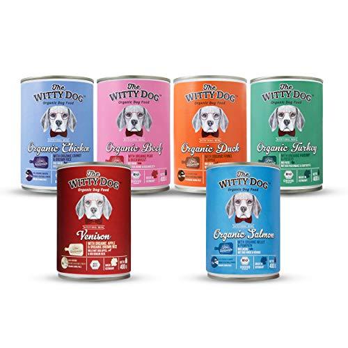 THE WITTY DOG, 100{06e924c9965b6f862e1f9cba820b59ba417eab18ea4dcf0c7fdf80bb5521dbde} Bio Zertifiziert Nass- Hundefutter, Komplet Menu: Mix 6 Menus, Dose 6x400g. (Bio Rind/Huhn/Ente/Pute/Lachs und Wild, Einzeln Protein, Human Grade)