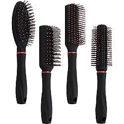 com-four® Set de coiffage en 4 Parties avec différentes brosses à Cheveux à Manche Souple