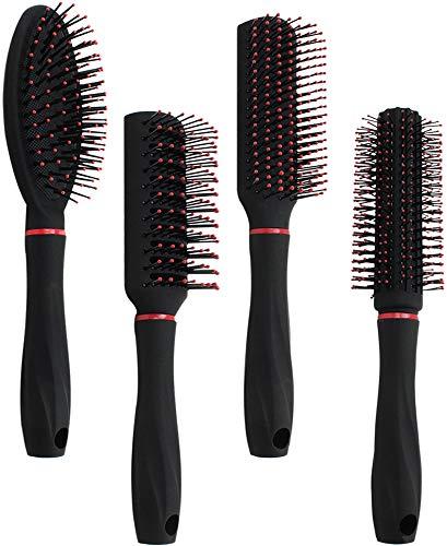 com-four® 4-teiliges Stylingset mit verschiedenen Haarbürsten mit Softgriff