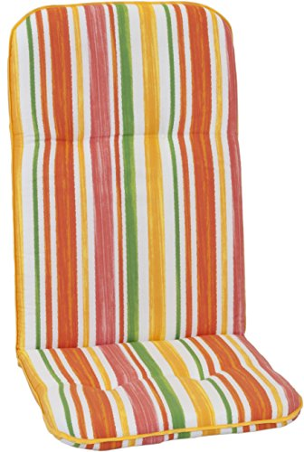 beo Jardin de Chaise Coussin passepoilé pour Fauteuil à Dossier Haut Printemps Rayures Multicolore Env. 115 x 48 x 5 cm