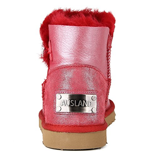 ShenDuo Damen Lammfell Stiefel Kurz Schlupfstiefel Warm Winterschuhe Knopf Boots D5096 Rot