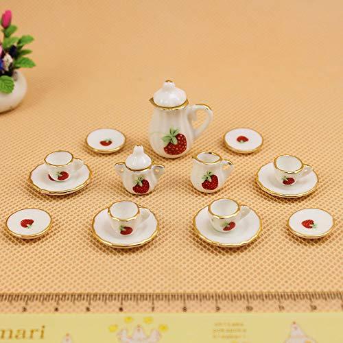 SHUNYUS Puppenhaus Miniaturmöbel, 15 Teile/Satz 1:12 Puppenhaus Porzellan Tee-Set Mini Spielzeug Puppenhaus Keramik Teegeschirr Teekanne Tassen - # 10