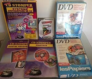 Lot Systeme d'étiquetage CD/DVD : CD Stomper Pro, boitiers, jaquettes, étiquettes, CD-ROM