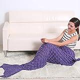 Strickdecke in Form eines Meerjungfrauenschwanzes von Renoliss, von Hand gefertigt, warm, für Sofa/ Wohnzimmer, für Erwachsene und Kinder, 190 x 90 cm Gr. 180*80 cm, violett