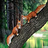 2 PZ Scoiattolo Ornamenti Creativi Simulazione Animale Casa Giardino Giardino Parco Esterno Foresta Paesaggio Scultura- 13 * 12 * 38 Cm 2PCS