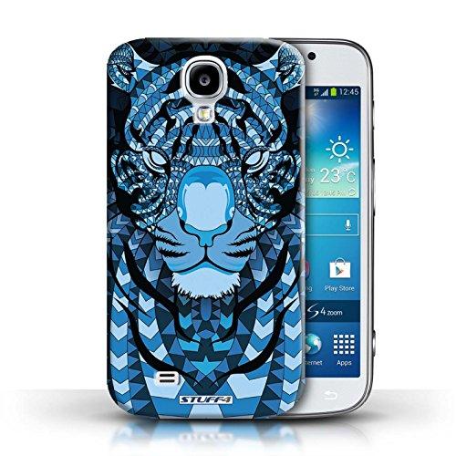 Coque en plastique pour Samsung Galaxy S4/SIV Collection Motif Animaux Aztec - Tigre-Mono Tigre-Bleu