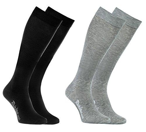 Rainbow Socks 2 Paar Bunte KNIESTRÜMPFE Gekämmte BAUMWOLLE, Modern Lange Socken MULTIPACK für Jeden Tag, Bequem und Fein|GRAU SCHWARZ, EU Größen 44-46, Made in EUROPA