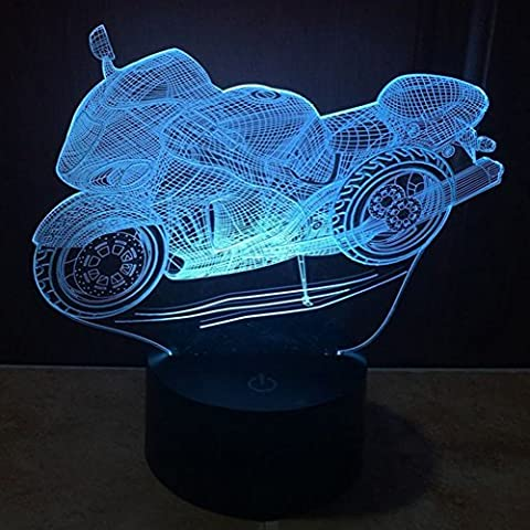 3D Illusion Lamp 7Changing Colors Touch Moto jawell Night Light USB Table Nice Gift Toys Decorations