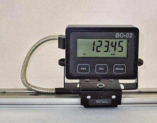 Digitales, batteriebetriebenes magnetisches Längenmessgerät für Anschläge mit Halbierfunktion, Spiegelfunktion | 42-50-0001 | mit LCD-Display, Führungswagen, Magnetband-Lesekopf, Schienenführung, Kunststoffgleiter Lcd 47