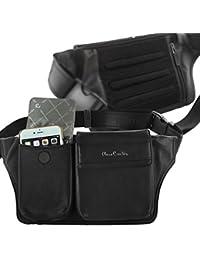 Pierre Cardin Piel Auténtica multifuncional cintura Pack carcasa para iPhone 6 Plus 6S Plus Negro negro