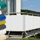 Protección visual para balcones y terrazas - 500x90 cm - Resistente a los rayos UVA y el viento - Blanco