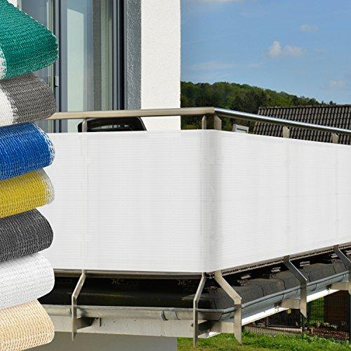 Sol Royal Brise-vue balcon Terrasse + fixations SolVision Protection Regards Vent Soleil - resiste aux UV 5x0.9m Blanc