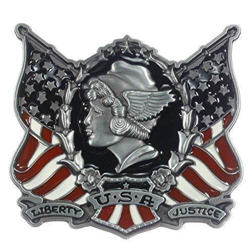 Buckle US-Girl, mit amerikanischen Flaggen, Gürtelschnalle -