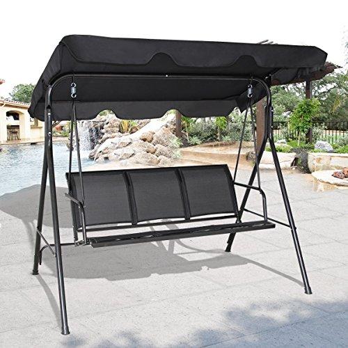 Costway Hollywoodschaukel Gartenschaukel Schaukelbank Gartenliege mit Sonnendach 3-Sitzer Farbwahl (Schwarz) - 3