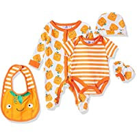 Lilly And Jack Halloween Theme Baby Clothes, Unisex, 0-3 Months - Orange, Pack of 5