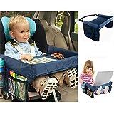 PENVEAT Tablett/Tisch für Kinderautositz, faltbar, sicher, zum Spielen, Reisen, zur Aufbewahrung, Autozubehör, blau