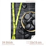 Graz Design 761558_15x15_60 Fliesenaufkleber Bambus/Massagesteine | Bad-Fliesen mit Fliesenbildern überkleben (Fliesenmaß: 15x15cm (BxH)//Bild: 60x90cm (BxH))