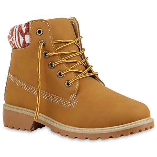 Damen Stiefeletten Outdoor Boots Warm Gefütterte Stiefel Schuhe 134342 Hellbraun Braun Muster Agueda 37 Flandell