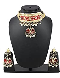 Andaaz Designer High Quality Maroon Stone Kundan Necklace Set With Earrings And Mang Tikka For Women And Girls