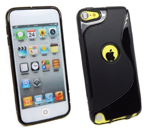 Kit Me Out ES ® Funda de gel TPU para Apple iPod Touch 5 (5ª generación) - Negro Diseño de ondas