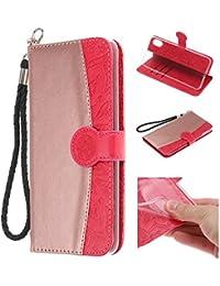 """Handy hülle Tasche Leder Flip Case Brieftasche Etui Schutzhülle für Apple iPhone X XS/XR/XS MAX/5G 5S ES/6G 6s/6 Plus/7G 8G /7Plus /8Plus hülle,6 Farben (iPhone XR(6,1""""), Rot)"""