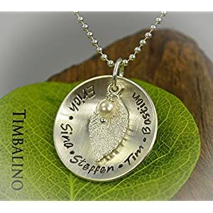 925 Silber Familienkette, Blattanhänger