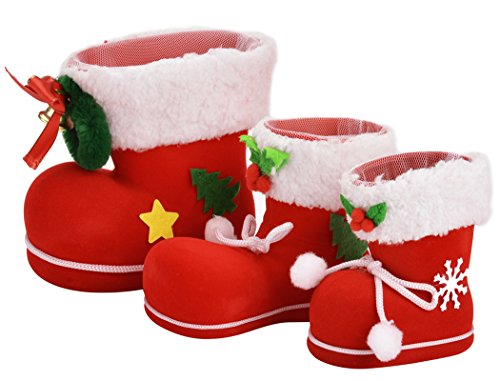 Coxeer 3 Pcs Santas Christmas Boot Candy Holder Small Gift Present Snacks Chocolate biscuits Container Christmas tree decoration Accessories