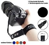 Neopren Kamera-Handschlaufe EXTRA BREIT / schwarz / ECHT LEDER Verbindungsteile / DSLR spiegellose...