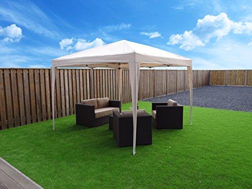 Pavillon pliable 3 x 3 m tente de jardin tente de fête | Sable / Beige / Blanc | SORARA | Polyester | Pour jardin terrasse marché camping festival imperméable