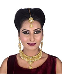 FULLY Gold Plated Jewellery Necklace With Earrings Set & Maang Tikka For Women Fashion Party Wear / Necklace Set...