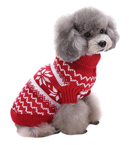 PassMe Ropa para Perros Mascotas Suéter Prednda de Punto Cuello Alto Chaqueta Abrigo Cálido Invierno Otoño Costume Navidad
