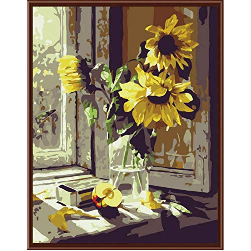 Hyllbb New Wall Art Frameless Pictures Painting By Numbers Handwork Canvas Dipinto Ad Olio Home Decor Per Soggiorno Di Girasole-40 * 50Cm,With Fram