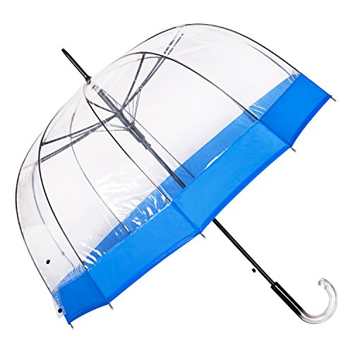 Paraguas Transparente Azul de Mujer, con Forma de Cúpula y Función Antiviento. Paraguas Grande, Resistente y de Alta Calidad. Un Paraguas de Mujer Original Regalo Colgador de Mesa. Garantía de Satisfacción (Transparente Azul Navy)