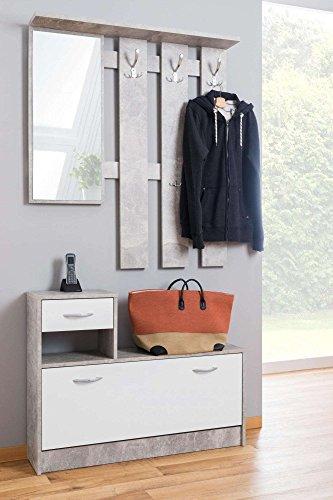Avanti trendstore rudolf - guardaroba da ingresso con specchio, 3 ganci appendiabito e scarpiera. colore: grigio/bianco