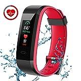 CHEREEKI Pulsera Actividad, Pulsera de Actividad Inteligente con Monitor de Calorías, Monitor de Ritmo Cardíaco, IP68 Reloj Fitness Podómetro con 14 Actividad Modalidades para iOS y Android (Rojo)