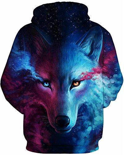 AureQet Herren Unisex Realistische 3D Galaxy Kapuzen Pullover Digitaldruck Sweatshirt Weihnachten Langarm Winter Hoodie Löwe C