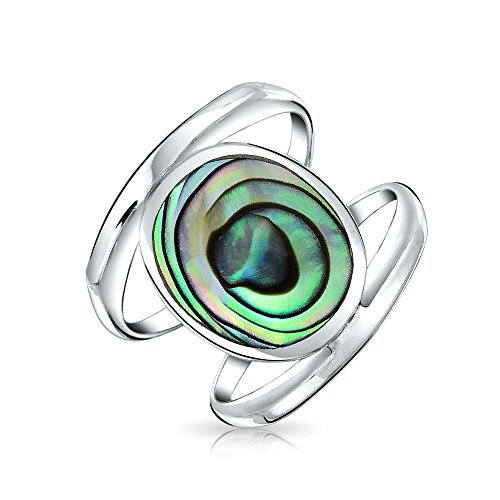 Bling Jewelry Boho Oval Rainbow Die Muschel Doppel Schaft Mode Statement Abalone Ring Für Jugendlich Damen Sterling Silber - Doppel-tank Bands