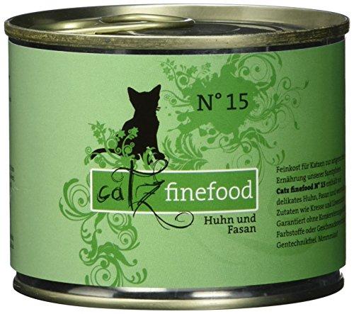 catz finefood N° 15 Huhn & Fasan Feinkost Katzenfutter nass, verfeinert mit Quinoa & Kresse, 6 x 200g Dosen