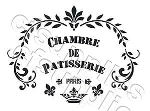 """A3 Grand pochoir Shabby Chic, Français, mobilier, tissu, verre, Mylar réutilisable """"PaTISSERIE"""" (75)"""