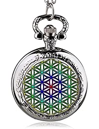 ShopyStore 37 Fashion Silver Stainless Steel Tree Of Life Chain Luminous Pocket Watch Necklace WOM