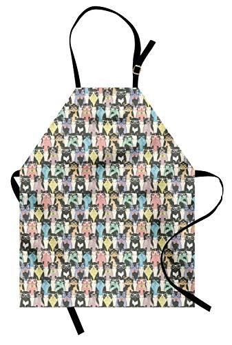 ABAKUHAUS Katze Kochschürze, Retrostil-Muster mit netten Katzen-Hippie-Sonnenbrille-Fliegen-Hand gezeichneten Art-Weinlese, Farbfest Höhenverstellbar Waschbar Klarer Digitaldruck, Mehrfarbig