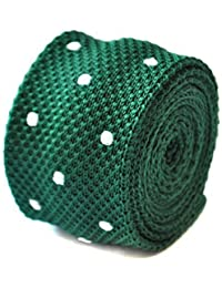 Frederick Thomas skinny knitted dark green and white polka spot tie