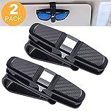 ASANMU 2 Pack Brillenhalter für Auto Sonnenblende, Sun Visor, Sonnenbrillen Brillen mit Karten Clip - Schwarz