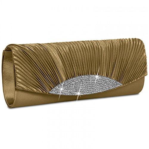 Caspar Womens raso frizione/sera borsa con splendido strass, molti colori-ta289, oro